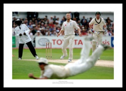 Ashes 2005 Cricket Print - Andrew Strauss Diving Catch off Flintoff's Bowling