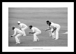 England Cricket Legends  - The 'Slip Cordon' 1985 Photo Memorabilia