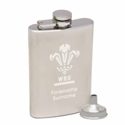 Wales Rugby Personalised Engraved Club Crest Hip Flask