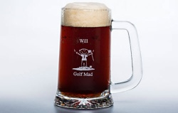 Personalised Golf Mad Crystal Tankard
