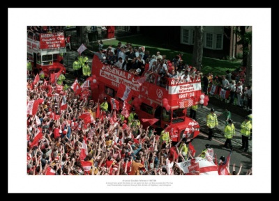 Arsenal FC 1998 Double Open Top Bus Celebrations Photo Memorabilia