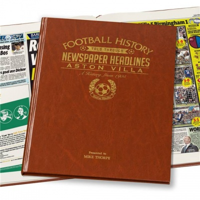 Personalised Aston Villa Historic Newspaper Memorabilia Book