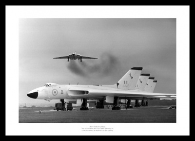 Vulcan Bombers Lined Up on Airfield Aviation Photo