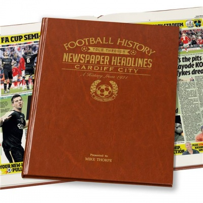Personalised Cardiff City Historic Newspaper Memorabilia Book