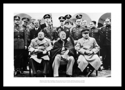Churchill Roosevelt & Stalin World War 2 Photo