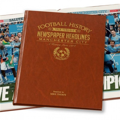 Personalised Manchester City Historic Newspaper Memorabilia Book