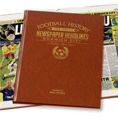 Personalised Norwich City Historic Newspaper Memorabilia Book