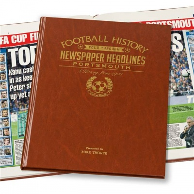 Personalised Portsmouth FC Historic Newspaper Memorabilia Book