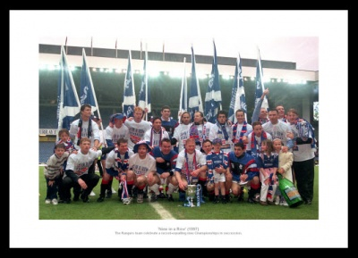 Rangers FC 9 in a Row 1997 League Champions Photo Memorabilia