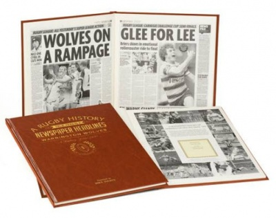 Personalised Warrington Wolves Rugby League Historic Newspaper Memorabilia Book