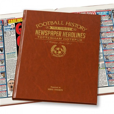 Personalised Tottenham Hotspur Historic Newspaper Memorabilia Book