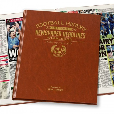 Personalised Wimbledon FC Historic Newspaper Memorabilia Book