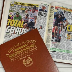 Personalised British Cycling Legends Historic Newspaper Memorabilia Book