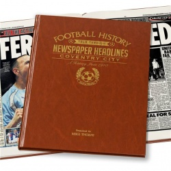 Personalised Coventry City Historic Newspaper Memorabilia Book