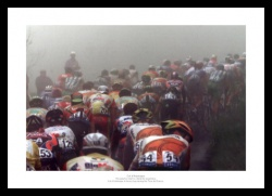 Tour de France Peleton Enters Foggy Col d'Aubisque Photo Memorabilia