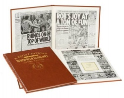 Personalised Leeds Rhinos Rugby League Historic Newspaper Memorabilia Book
