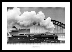 Black Five Crossing the River Tyne Historic Steam Train Photo