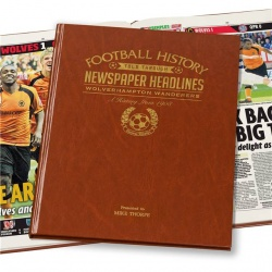 Personalised Wolverhampton Wanderers Historic Newspaper Memorabilia Book