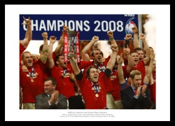 Wales 2008 Grand Slam Team Celebrations Photo Memorabilia